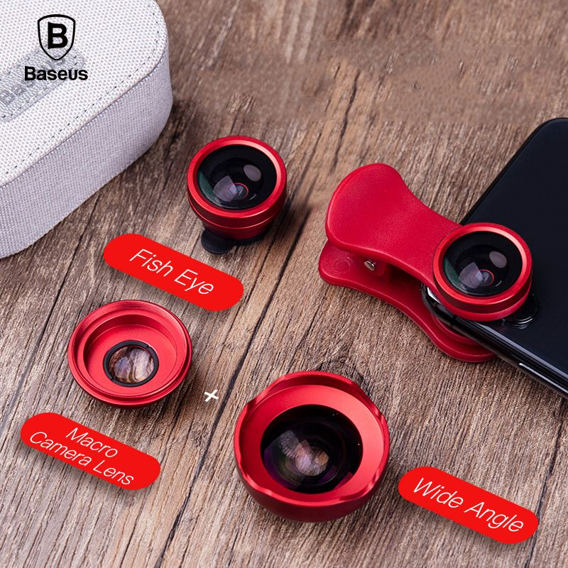 Baseus Mobile Phone Lenses Fish Eye +Wide Angle +15X Macro Camera Lens for iPhone X Samsung Xiaomi Huawei Zoom Lens Selfie Lens