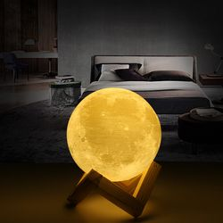 Rechargeable 3D Print Moon Lamp 2 Color Change Touch Switch Bedroom Bookcase Night Light Home Decor Creative Gift 2018 Original