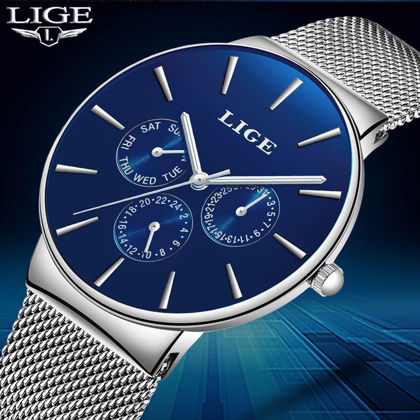 LIGE Fashion Simple Men Watch Top Brand Luxury Business Waterproof Quartz Watches Men Clock Male Sports watch relogio masculino