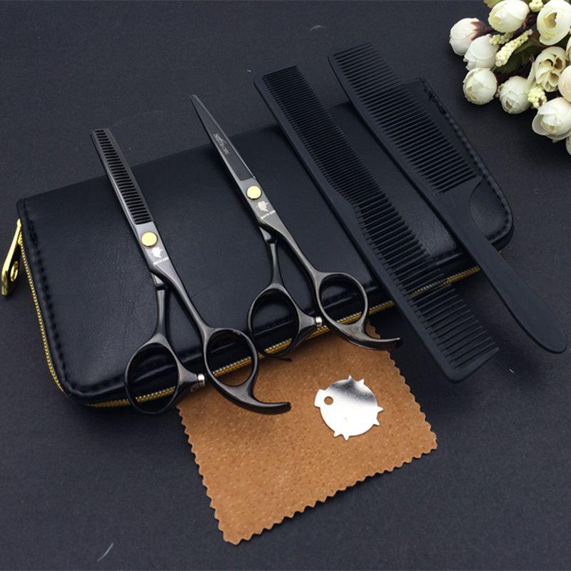 5.5. Ciseaux de coiffure professionnels ensemble de coupe + ciseaux de coiffeur amincissants 2 pièces ensemble + étui + peigne