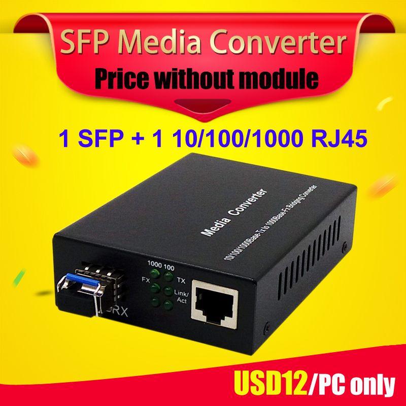 SFP gpon onu bta sfp media converter 1 gigabit sfp fiber de port à 1 rj45 UTP Ethernet fiber optique media converter avec sfp slot