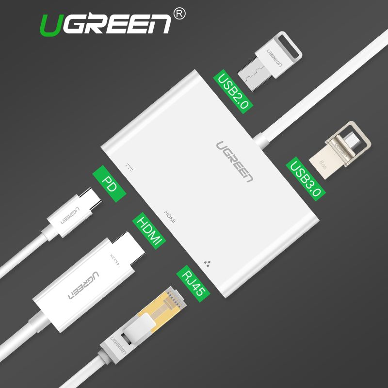 Ugreen USB C HUB Type-C to HUB HDMI VGA RJ45 Adapter with USB-C PD Port Splitter for MacBook Pro Huawei Mate 10 USB 3.0 HUB