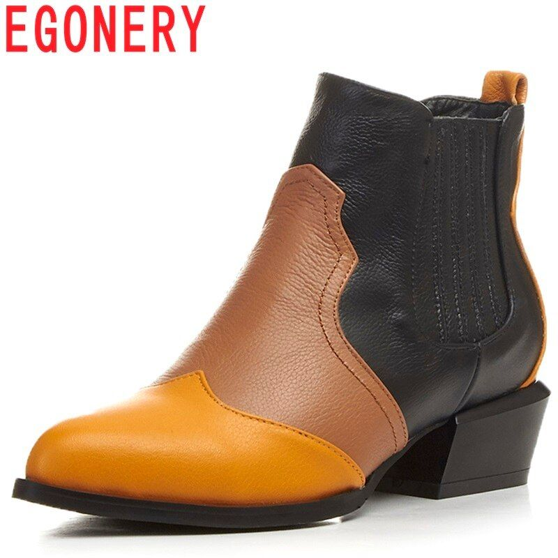 EGONERY women shoes newest popular mixed colors genuine leather pointed toe med square heel slip-on winter fashion warm booties
