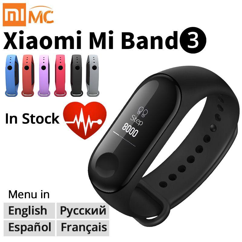 Bracelet Original Xiao mi mi Band 3 Bracelet intelligent de remise en forme Bracelet mi Band 3 grand écran tactile OLED Message fréquence cardiaque temps Smartband