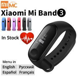 Asli Xiao Mi Mi Band 3 Smart Gelang Kebugaran Gelang Mi Band Band 3 Besar Layar Sentuh OLED Pesan Jantung tingkat Waktu Smartband