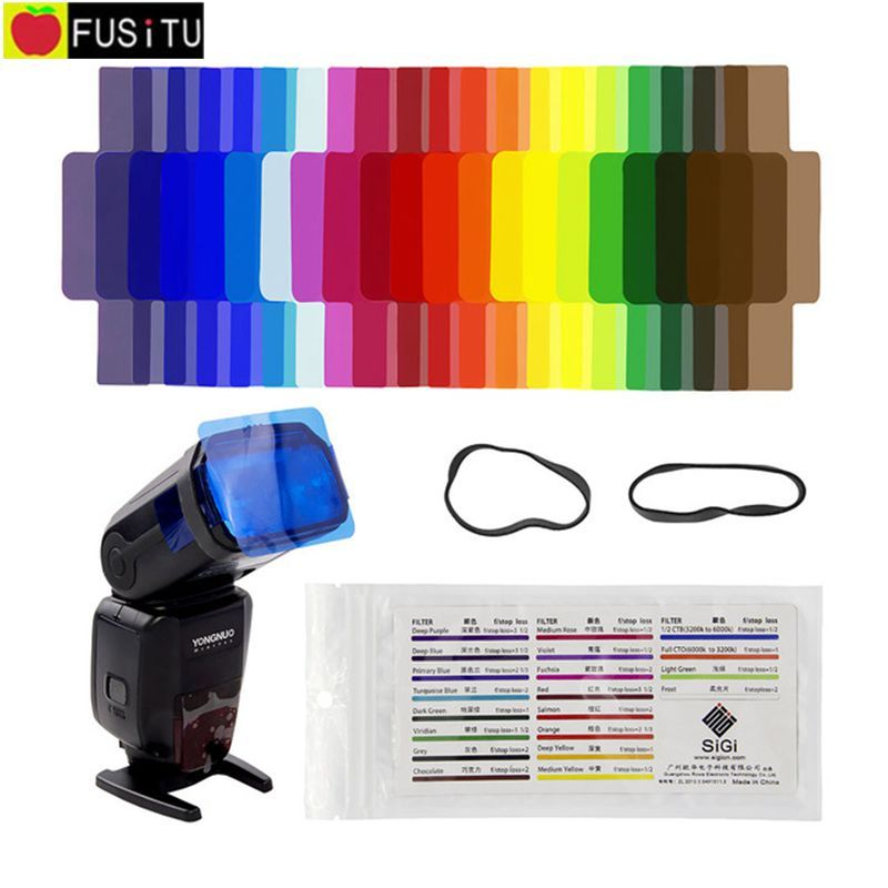 Fusitu 20pcs Flash Speedlite Color Gels Filters for Canon Nikon Sony Godox Yongnuo Shanny