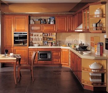 chinese solid wood kitchen cabinet(LH-SW043)