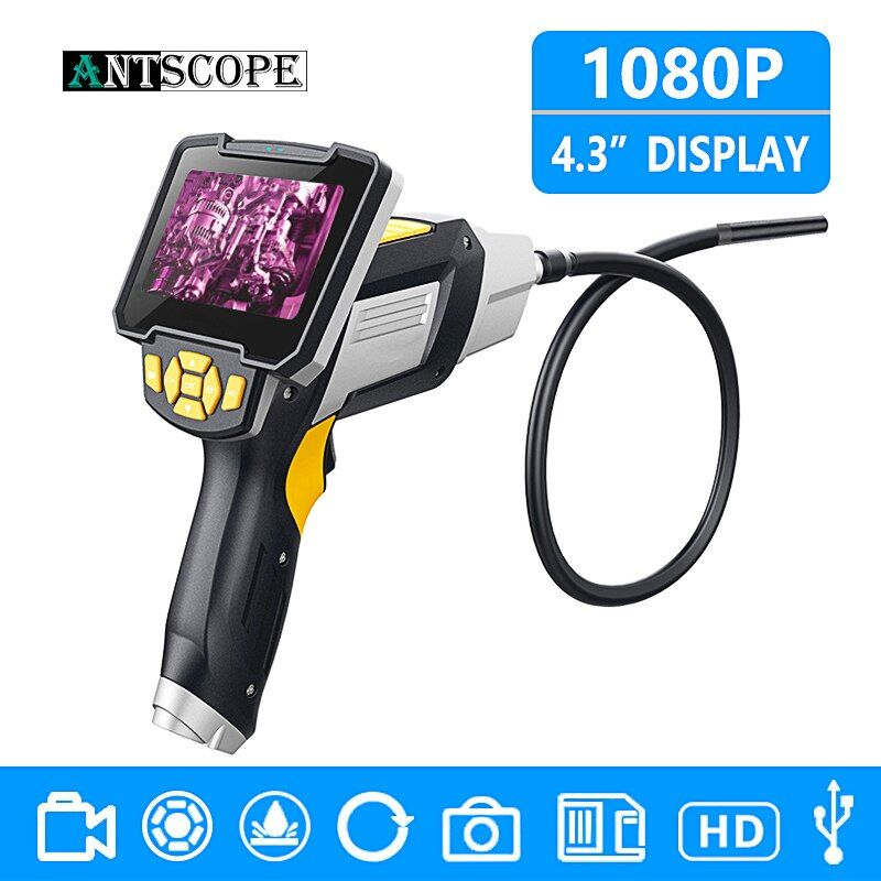 Antscope 4.3 inch 8mm Industrial Endoscope 1080P Inspection Camera for Auto Repair Tool IP67 Waterproof Snake Tube Borescopes 30