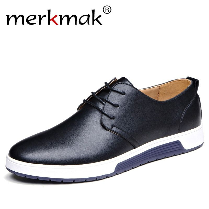 Merkmak Luxury Brand Men Shoes Casual Leather Fashion Trendy Black Blue Brown Flat Shoes for Men Drop Shipping