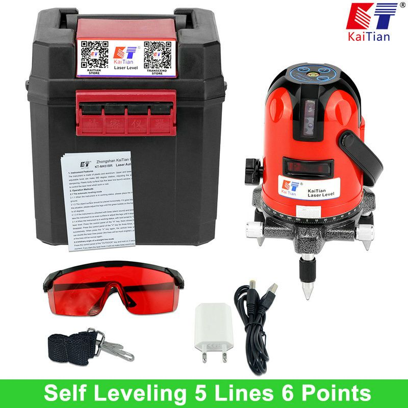 KaiTian Laser Level 360 Rotary Self Lleveling Tilt Function Outdoor EU 635nm Corss Line Lazer Level 5 Lines Livella Laser <font><b>Tools</b></font>