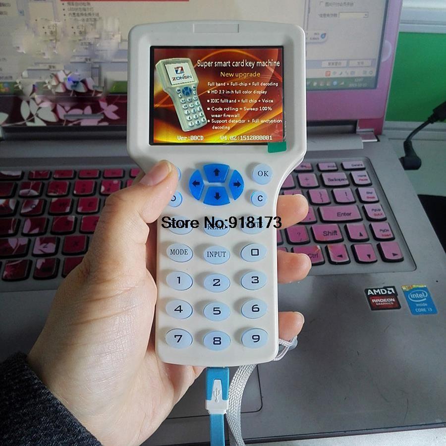 Englisch Super Handheld Rfid NFC Copier Leser Schriftsteller cloner 9 frequenz + 5 Stücke 125 khz karte + 5 Stücke 13,56 mhz UID Veränderbar Karte
