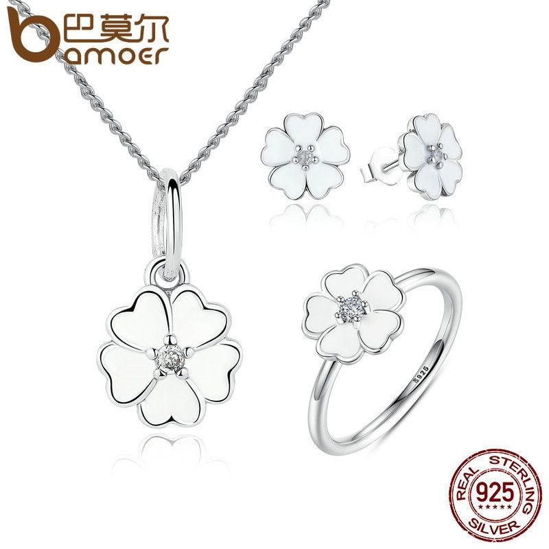 BAMOER 100% 925 Sterling Silver Jewelry Set Primrose Flower White Enamel Jewelry Sets Sterling Silver Jewelry ZHS025
