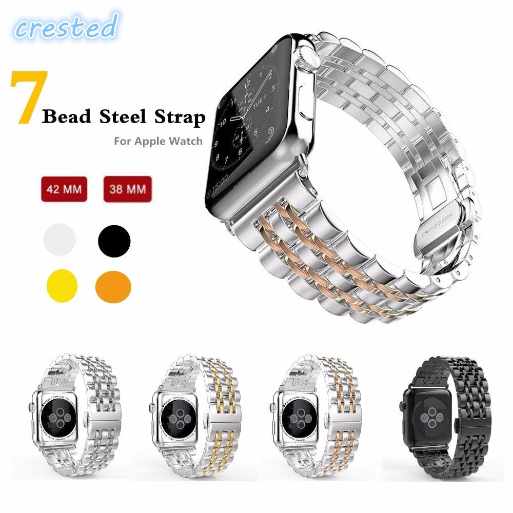 CRESTED luxury metal Stainless Steel strap for Apple Watch band 4 42mm/38mm bracelet wrist belt for iwatch strap series 4/3/2/1