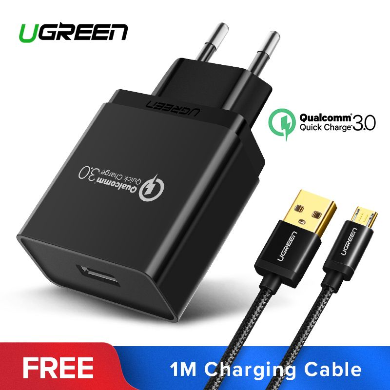 Ugreen USB Charger 18W Quick Charge 3.0 <font><b>Mobile</b></font> Phone Charger for iPhone Fast QC 3.0 Charger for Huawei Samsung Galaxy S9+ S8+