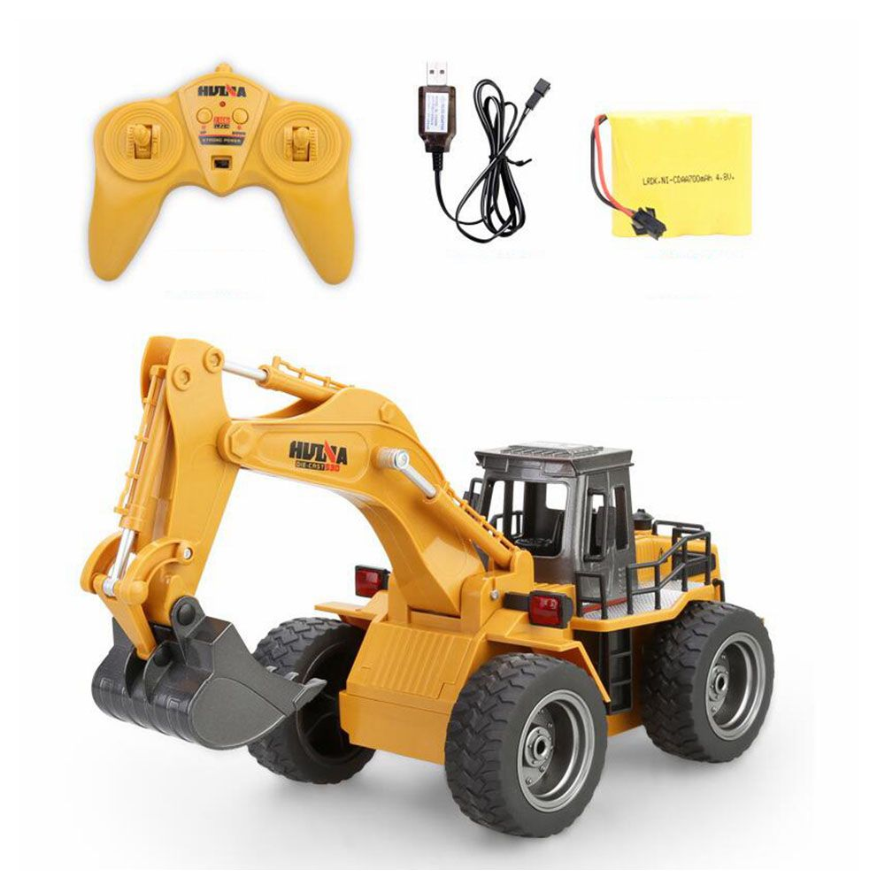 Huina 1530 Remote Control truck Six Channel 6ch Rc Alloy Metal Excavator With Charging Battery children Toys Car Christmas Gifts