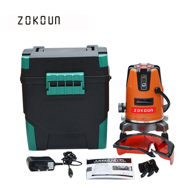 ЕС Plug zokoun 05rco 5 линий 6 очков с Plumb Dot наклона функциональные 360 Поворотный самовыравнивание 635nm лазерный уровень Инструменты