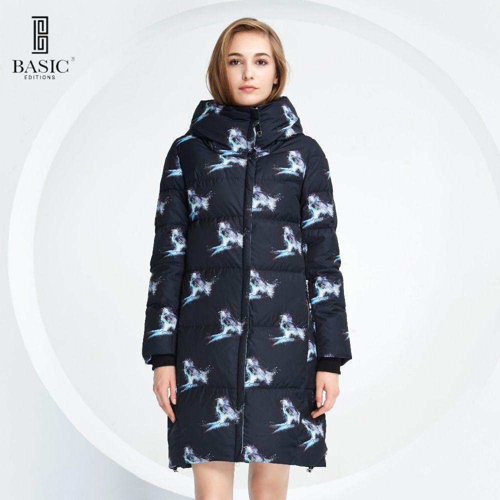 Основные Vogue Для женщин шаблон зима птица длинные Парка на пуху куртка с капюшоном-y16012