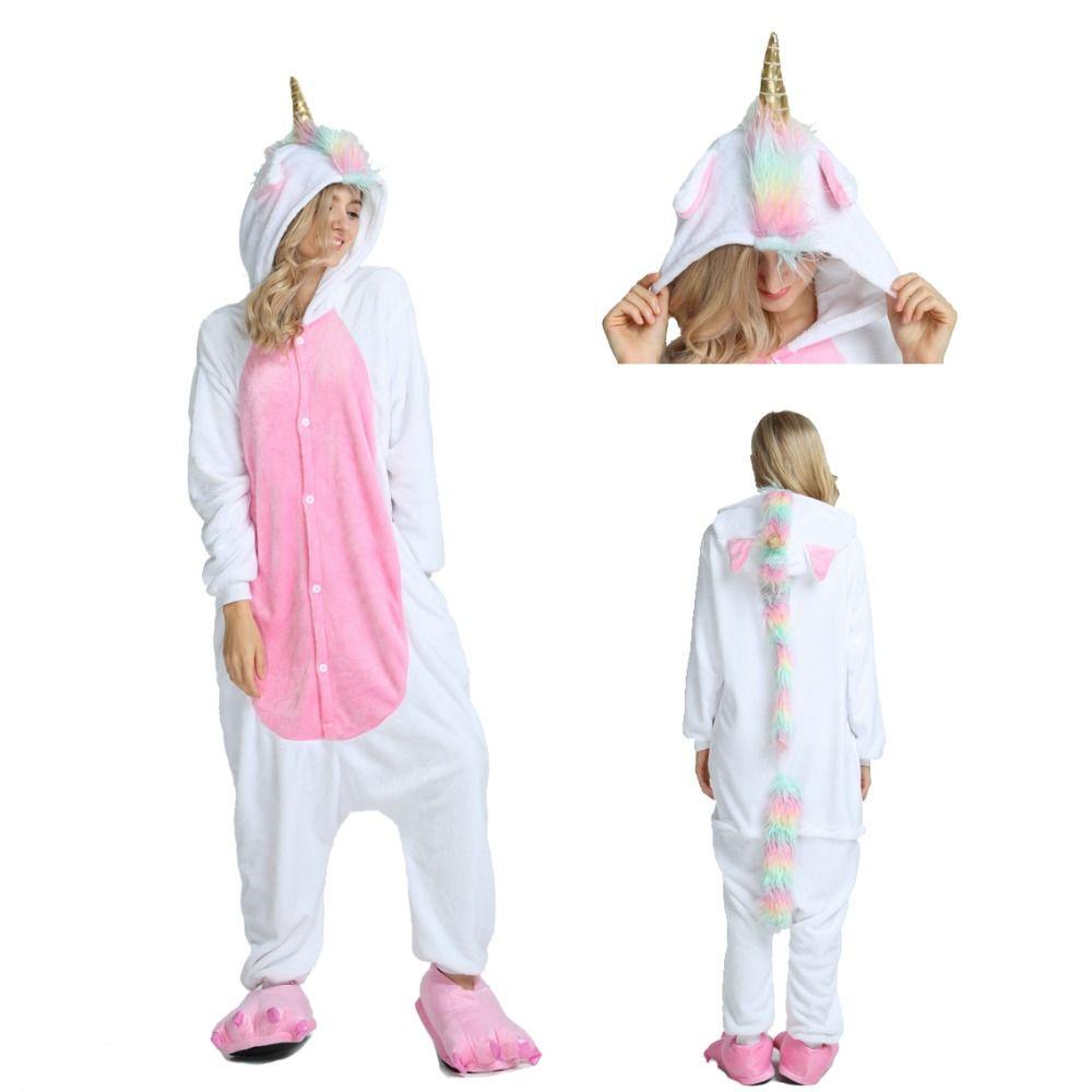 2019 Hiver Adultes Animal Pyjamas de Nuit de Dessin Animé Licorne Pyjamas Point Kigurumi Unicornio Femmes Hommes Chaud Flanelle À Capuche