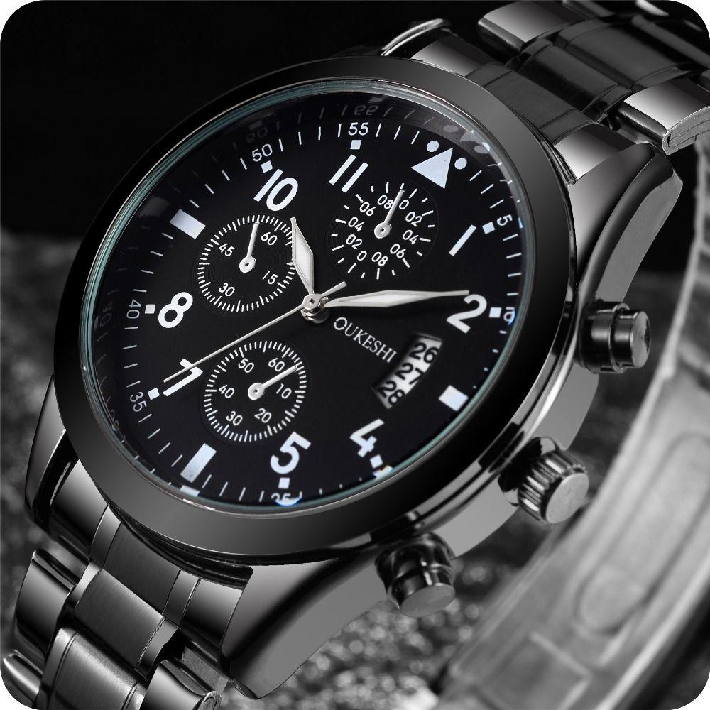 Men Calendar Sports Watches Men Quartz Wristwatches Solid Stainless Steel Watch Waterproof Wrist Watch Relogio Masculino Hour