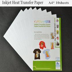 (A4 * 10 pcs) Jet D'encre De Transfert De Chaleur Papier D'impression Couleur de La Lumière Papier De Transfert De Tissu pour Vêtement En Coton Thermique transfert Papier Papel