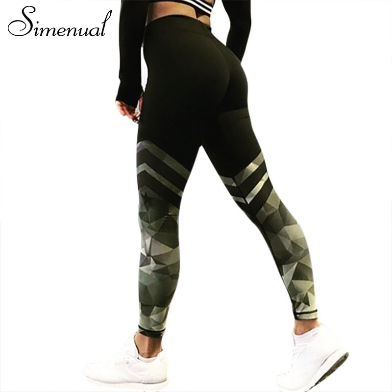 Simenual Harajuku push up fitness legging camouflage stripe bodybuilding women's leggings sportswear athleisure female pant sale