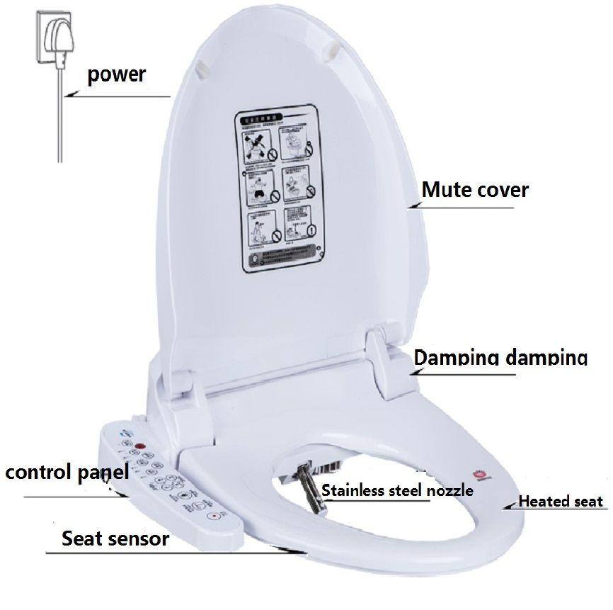 Intelligent Heated Toilet Seat Smart Bidet Toilet Seats WC Sitz Water Closet Automatic Toilet Lid Cover Female Buttocks Washing