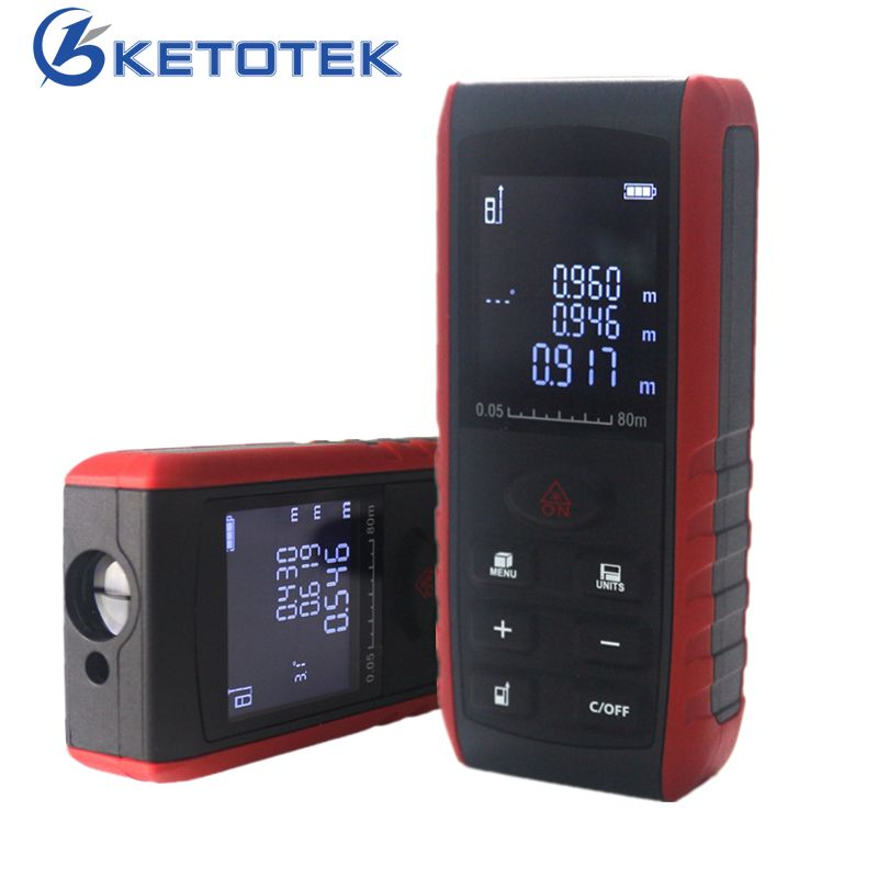 Handheld Laser Rangefinder Digital Laser Distance Meter Area Volume Tester Level Practractor <font><b>Angle</b></font> Indication 40m 60m 80m 100m