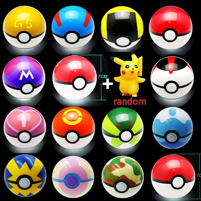 13 couleur enfants jouet balle 1 pc Pokeball avec 1 pc gratuit aléatoire Figure Anime figurines d'action enfants jouets