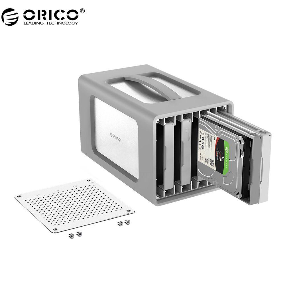 ORICO 4 Bay Aluminium Legierung Typ-C Festplatte Gehäuse 3,5 Zoll Festplatte Fall Mit Raid Und Silikon abdeckung Unterstützung 40 tb Lagerung