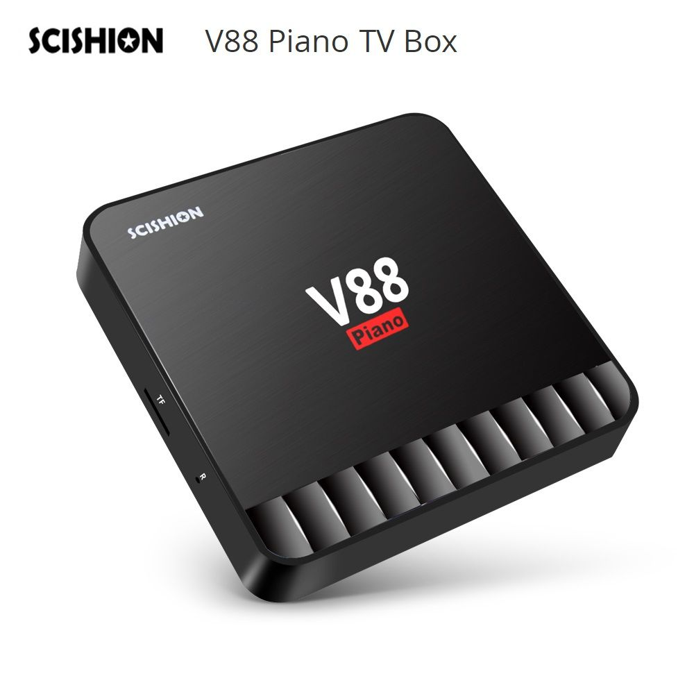 SCISHION V88 Piano TV Box 4GB 16GB Android 7.1 TV Box RK3328 Quad Core USB 3.0 4K Media Player Set Top Box