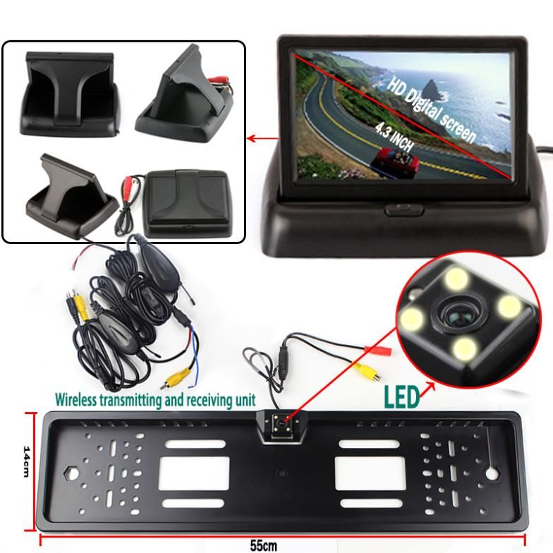 Wireless Car Styling Parking System with 4.3'' Foldable Monitor License Plate with Camera with Transmitter