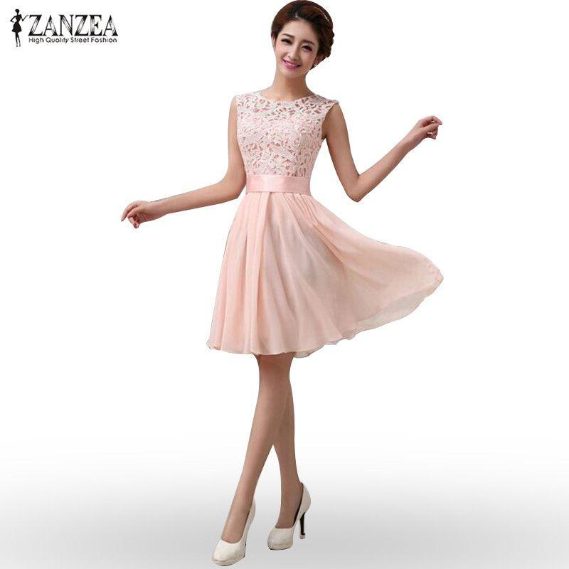 ZANZEA 2018 модные женские туфли летние платье без рукавов элегантные Кружево шифоновое платье принцессы по колено Платье для вечеринки 4 цвета