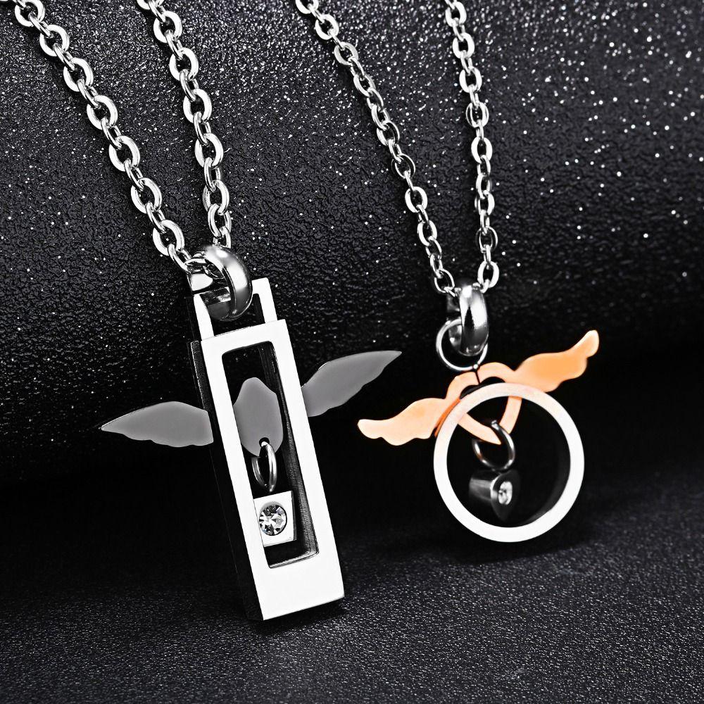 Jhsl бренд пары состояние Для мужчин t Ангел Подвески Цепочки и ожерелья для Для женщин Для мужчин подарок любовника Нержавеющаясталь звено ...