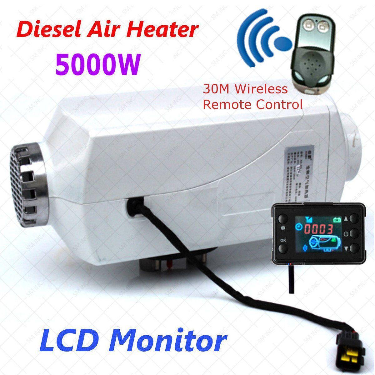 Hot 12V 5000W LCD Display Air diesel- Fuel Car Heater for trucks,boats,bus,Car Aluminum shell