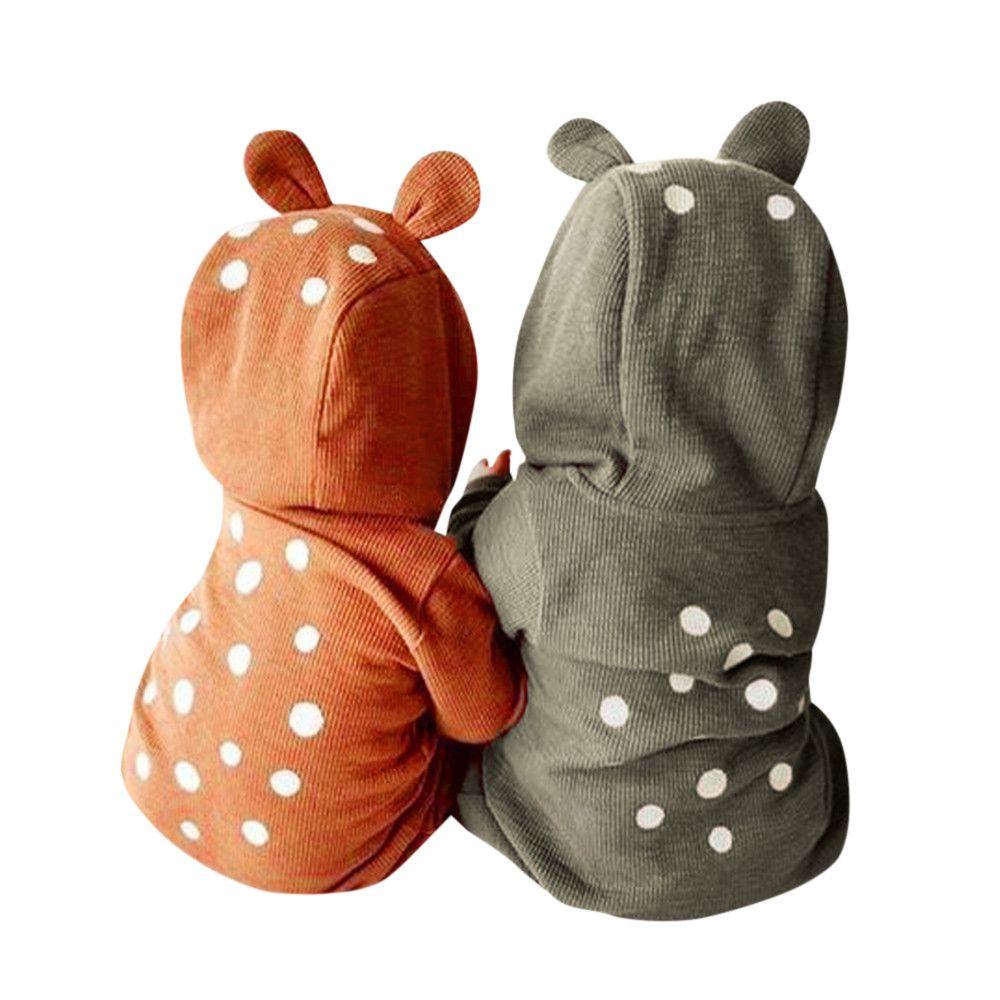 Для Новорожденных Для маленьких мальчиков девушка олень с капюшоном комбинезон комбинезоны с длинными рукавами детские Комбинезоны для ма...