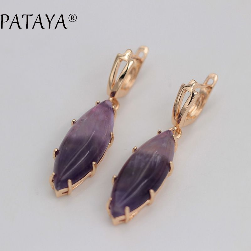 PATAYA Exclusive RU Hot Sale 585 Rose Gold Drop Earrings Multicolor Natural Stone Earrings Women Party Wedding India Jewelry