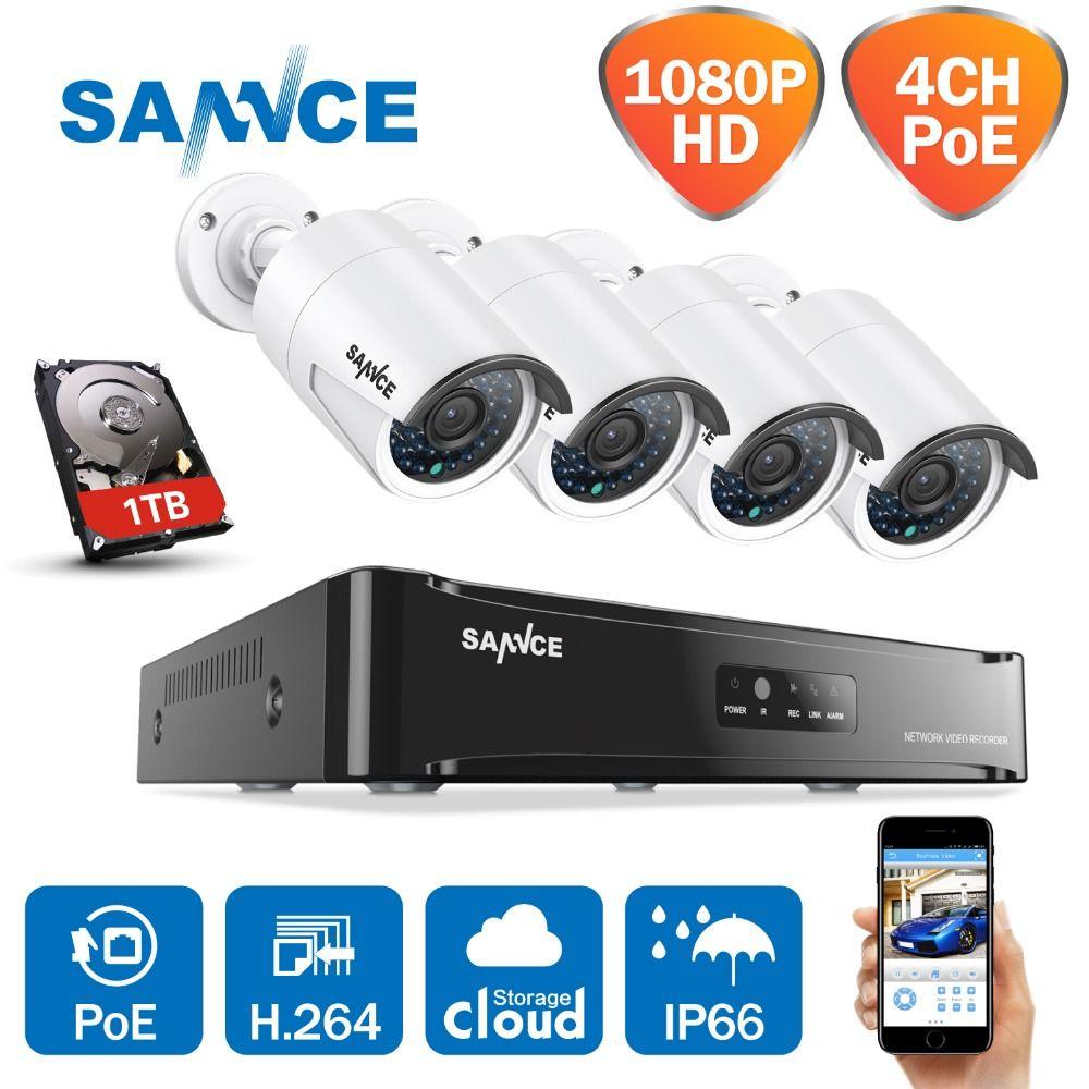 SANNCE 4CH 1080 P Netzwerk POE NVR Kit CCTV Sicherheit System 2.0MP IP Kamera Im Freien IR Nacht Überwachung Kamera System 1 TB HDD