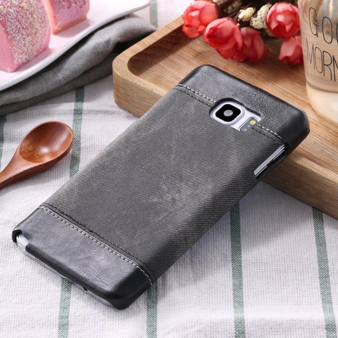 Étui rigide en cuir Cowboy Jean Denim Style pour Iphone 5 5s se 6 6s Samsung Galaxy S6 S7 Edge S8 Plus Note 3 4 A3 A5 A7 rétro nouveau