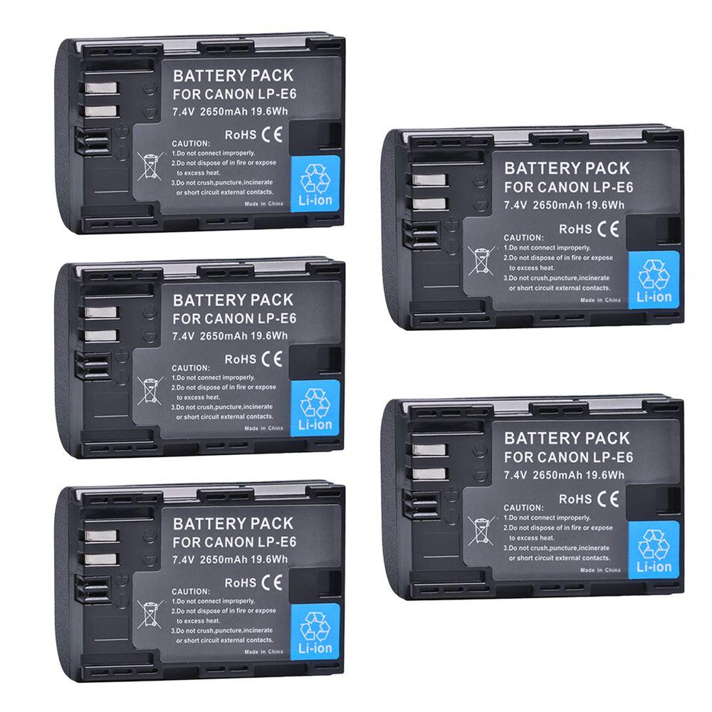 5Pcs 2650mAh LP-E6 LPE6 LP E6 Batteries for Canon 5D Mark II III 7D 60D EOS 6D 7D, 80D and BG-E14, BG-E1, for canon accessories