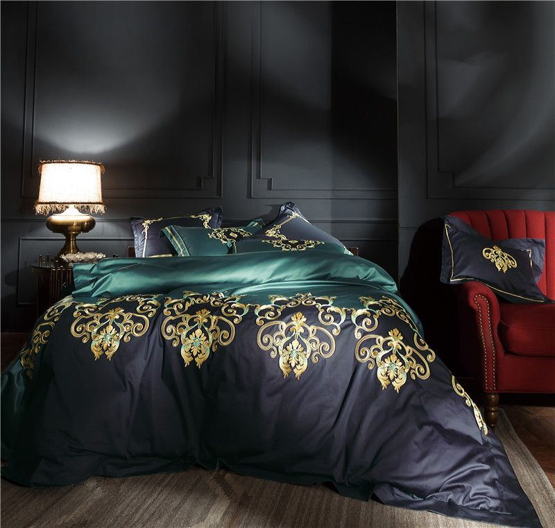 100S Egyptian cotton Luxury Oriental Embroidery Bedding Set Queen King Size 4/6 Pcs Bed sheet set Duvet cover Pillowcases