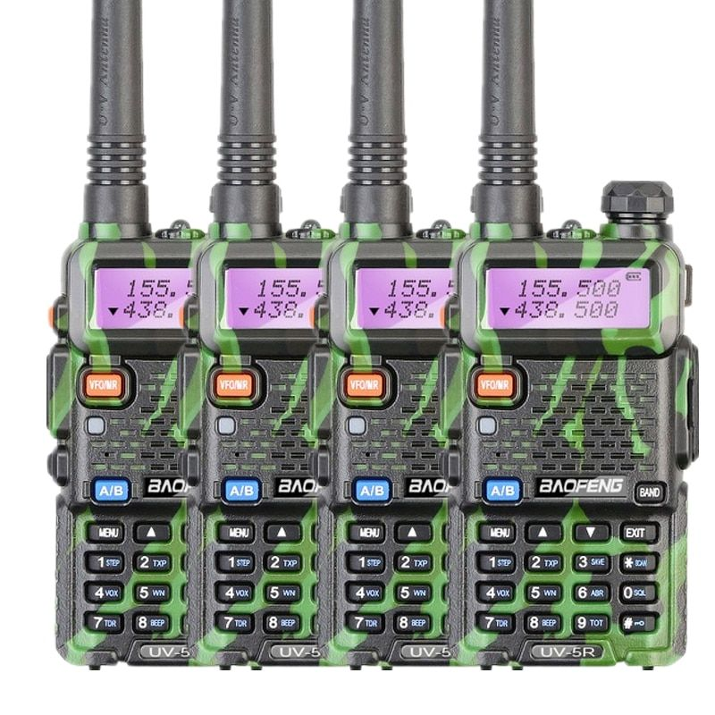 4pcs Baofeng UV 5R two way radio walkie talkie 5W power 1800mAh battery 146-174MHZ 400-520MHZ CB ham radio 128CH UV 5R radio