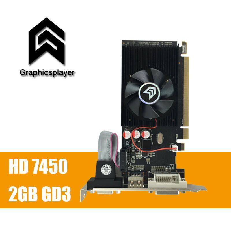 100% neue original grafikkarte pci express HD7450 2 GB DDR3 64bit LP placa de grafikkarte PC für ATI radeon kostenloser versand
