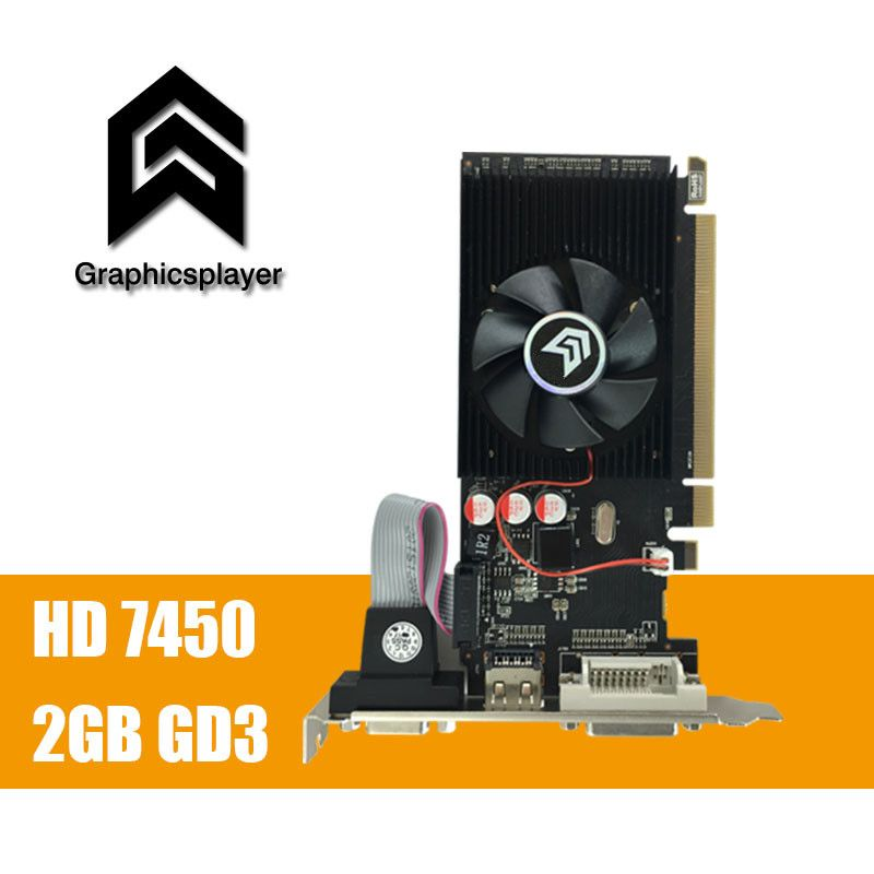 100% new original graphics card pci express HD7450 2GB <font><b>DDR3</b></font> 64bit LP placa de video card PC for ATI radeon free shipping