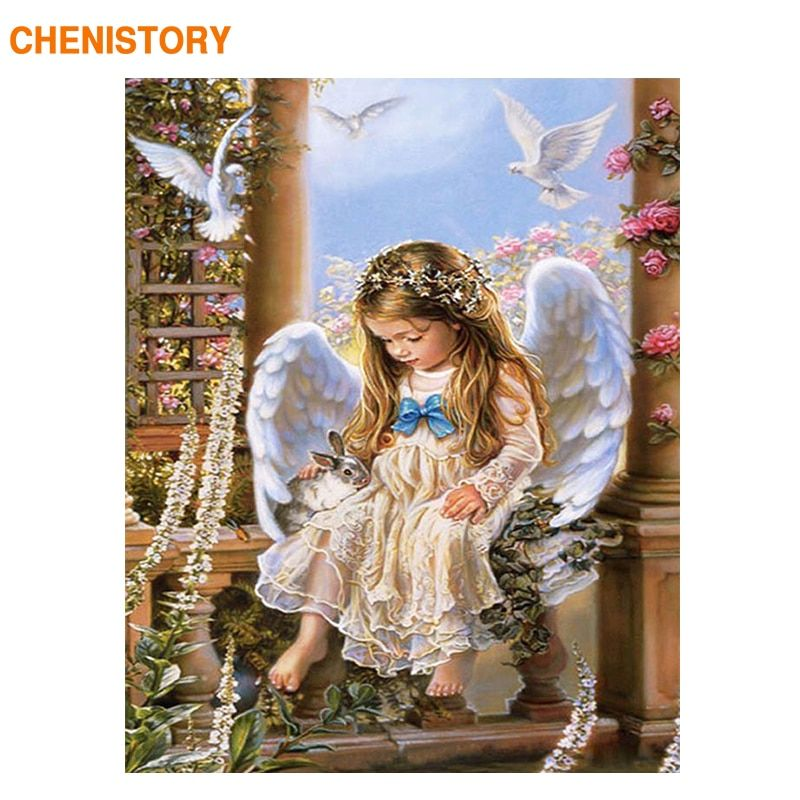 CHENISTORY Angel Rabbit DIY Painting By Numbers Gift Coloring By Numbers Picture On Wall Acrylic Paint By Numbers Inner Framed