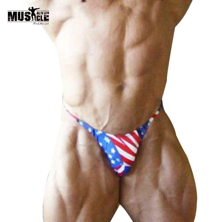 Mens Bikini Briefs con Bandera Americana Impresión Contorneada Bolsa G-String Posando Trunks Ropa Interior Sexy Beach Trajes de Baño Caliente