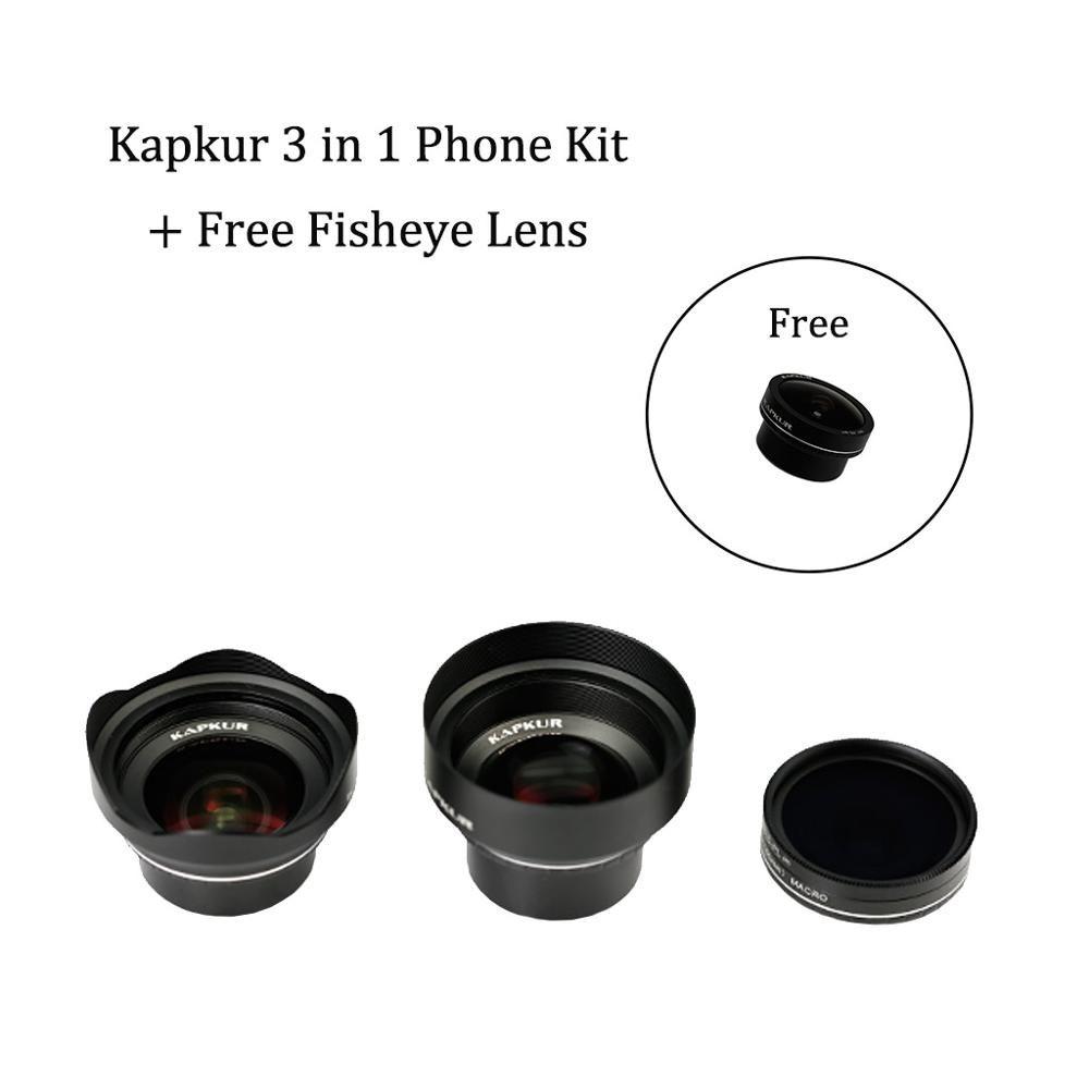 Kapkur telefon objektiv 3 in 1 kit für iPhone serie telefon mit Kapkur angepasst telefon fall mit freies sportbag