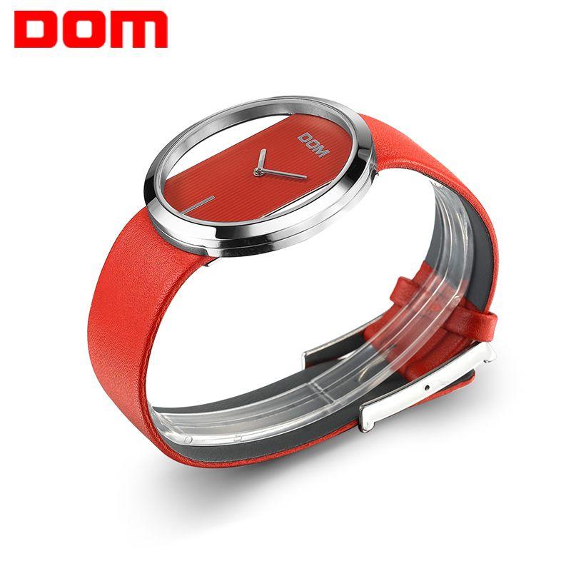 Watch Women DOM brand luxury Fashion Casual quartz Unique Stylish Hollow skeleton watches leather sport Lady wristwatches
