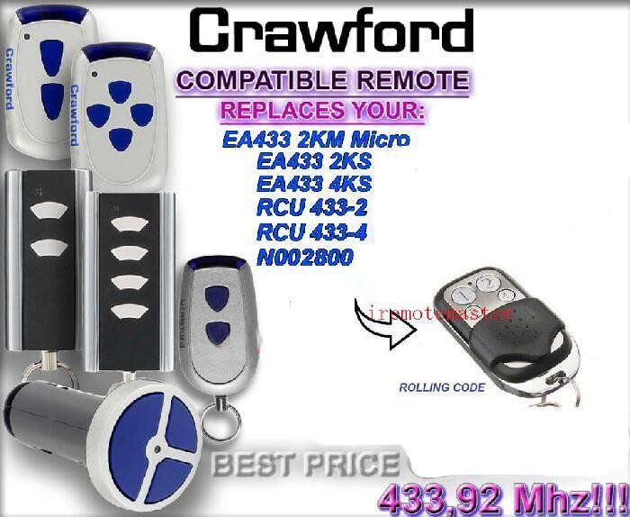 Crawford EA433 2KM MICRO,EA433 2KS RCU 433-2 N002800 remote control replacement rolling code