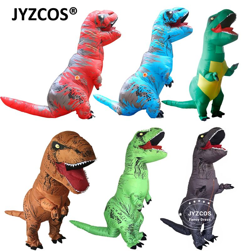 JYZCOS Adult Fantasy T REX <font><b>Inflatable</b></font> Costume Halloween Cosplay t rex Costumes Dinosaur Costume Party Fancy Dress for Men Women