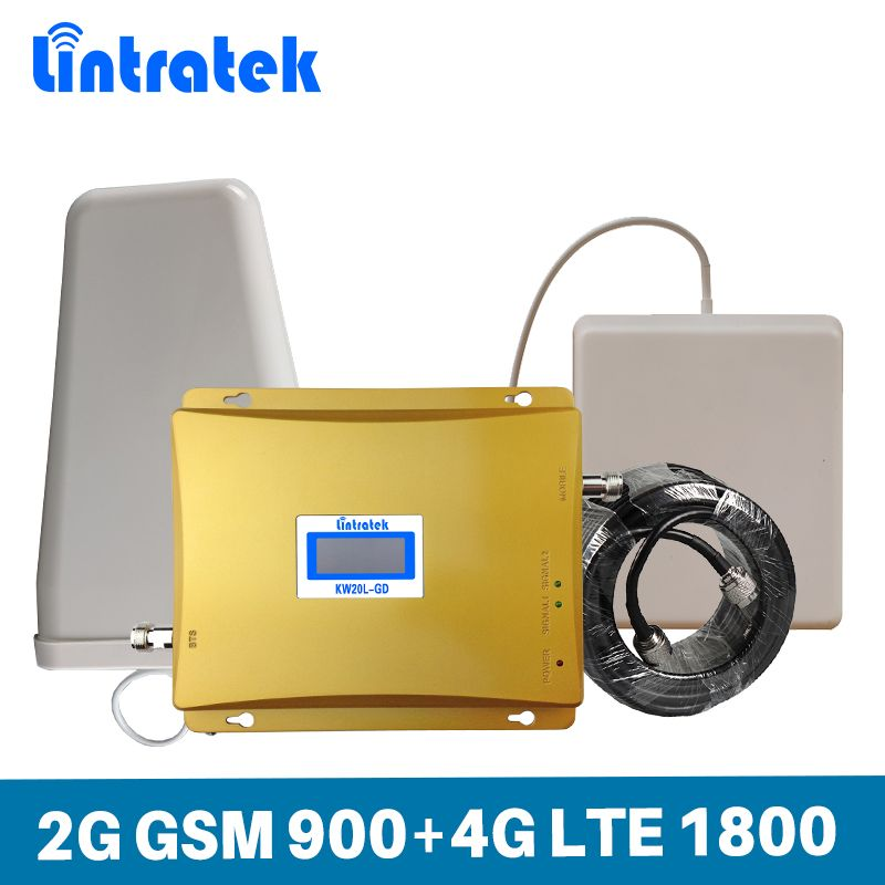 Lintratek Gain 65dB Mobile Phone Signal Booster 2G GSM 900MHz DCS 4G LTE 1800MHz Dual Band Cellphone Repeater Amplifier Full Set